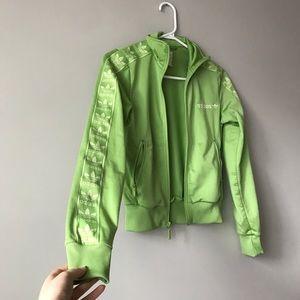 Vintage Adidas bright green light jacket